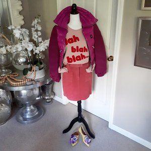 Dalia Casual leather / suede pink mini skirt, 6p